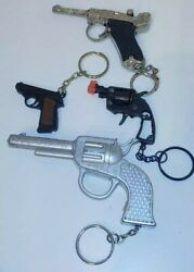 Vintage Mixed Lot Of Hand Gun Key Rings Chains And Cap Firing
