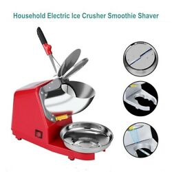 Electric Ice Crusher Smoothie Shaver Snow Cone Block Breaking Maker Machine Red