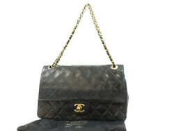 Quilted Coco Mark W Flap Chain Shoulder Bag Lambskin Black Turn Lock