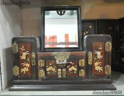 China Red Rosewood Wood Inlay Shell Shoushan Stone Dynasty Palace Dressing Table