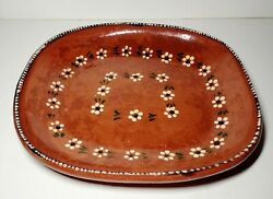 Vintage Tlaquepaque Mexico Red Clay Redware Pottery Large Bowl Or Tray
