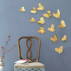 3D Butterfly Design Wall Stickers 12 pcs Removable Decals DIY Home DecoratioY^m^