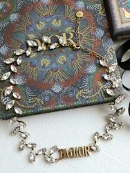 Christian Dior Necklace Jand039adior Crystal Metal Gold Clear Chain W/storage Box