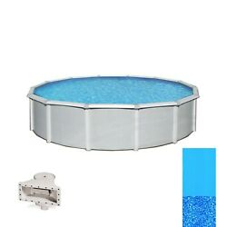 Samoan 27and039 X 52 Round Above Ground Swimming Pool And Liner 8 Top Rail