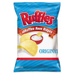 Ruffles Cheddar And Sour Cream Flavored Potato Chips, 1.5 Ounce Pack Of 64