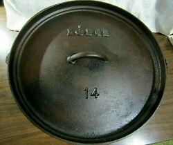 Rare Discontinued Lodge 14co Cast Iron Shallow Camp Dutch Oven No.14 Made In Usa