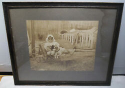 Large Antique Cabinet Photo Of Little Girl And Mother Jack Russel And Pups