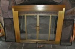 Vintage Brass Fireplace Screen With Glass And Mesh Sliding Doors
