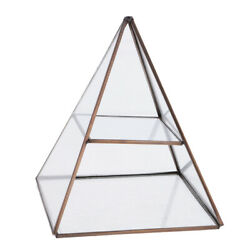Glass Pyramid Jewelry Stand Box Display Case With Vintage Brass Tone Metal Frame