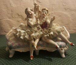 Vintage Ballerina Women Sitting On Couch Sofa Hand Painted Porcelain