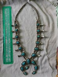 American Indian Genuine Sterling Silver Turquoise Squash Blossom Necklace
