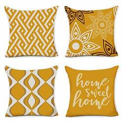 Home Decorative Pillow Covers 18 x 18 Inch Set of 4 Yellow 18x18in Mustard