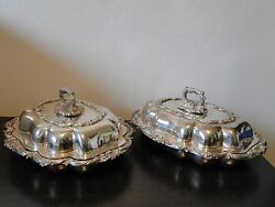 Silver Plated Entree Dishes Antique English Marked 1840 Walker And Hall
