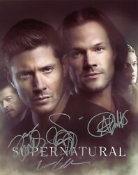 Supernatural Tv Series Hand Signed By Cast Of All 4 10x8 Glossy Photo Coa
