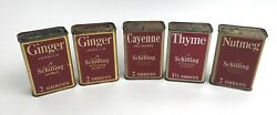 Lot Of 5 Vintage 1933 A Schilling And Company Of San Francisco Spice Tins 2 Ozs