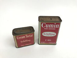 Vtg Lot Of 2 A Schilling And Company San Francisco Spice Tins W/ Some Contents