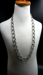 Vintage Marked Mexico Ts-54 Heavy Sterling Silver And Faux Turquoise Long Link Nec