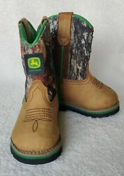 John Deere Jd 1133 Infant Size 4m Camo Brown And Green Leather Pull On Boots