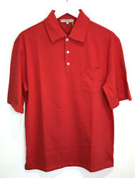 Bnwt Holland And Holland Short Sleeve Polo T Shirt M New Red Classic Collar