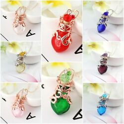 Murano Glass Perfume Necklace Small Heart Essential Oil Bottle Pendant Jewelry