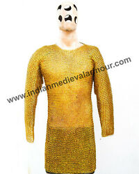 9mm Brass Flat Ring With Washer Dome Riveted Chainmail / Chest 55 Length 36