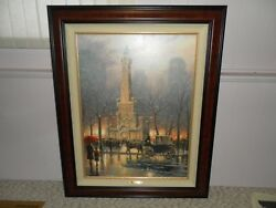 Thomas Kinkade Chicago Winter At The Water Tower Ep 34x25 Canvas Giclee + Frame
