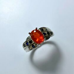 Natural Mexican Fire Opal 925 Silver 9ct 14k 18k Gold Platinum Ring