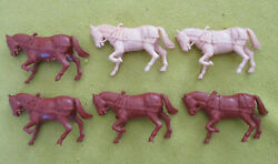 Vintage Ideal Covered Wagon,stagecoach, And Buckboard Plastic Toy Horses X 6