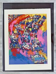 Mid Century Modern Framed Indy Start A.p. Lithograph Signed Leroy Neiman 1970s
