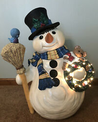 """Rare Vintage 23"""" Lighted Ceramic Frosty The Snowman Perfectly Painted/decorated"""