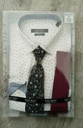 Nine West Menand039s Dress Shirt Slim Fits With 2 Ties