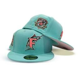 Exclusive Fitted Florida Marlins 7 3/4 10th Anniversary Mint Pink Hat Club 1/2
