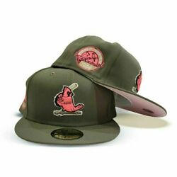 Exclusive Fitted St Louis Cardinals 7 5/8 Olive Pink 1964 Worlds Series Ws 1/2