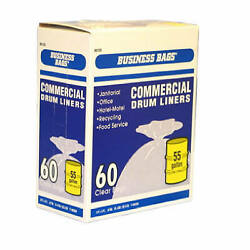 Ruffies 618644 Institutional Drum Liner Trash Bags Clear 55-gal. 60-ct. -