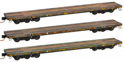 Micro-trains Mtl N-scale Dodx/army Andlsquoolive Drabandrsquo Flat Cars Weathered - 3-pack