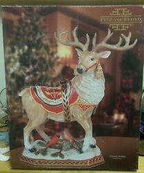 Fitz And Floyd Damask Stag W/ Cardinal Centerpiece 19 2010 Retired Hard To Find