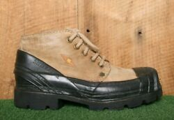 Vintage Yellow Cab Brown Leather Mid Ankle Industrial Boots Uk 6.5   Eur 40