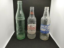3 Rare Vintage Glass Bottles Tom's Quality Brand Soda Water Table Rock Cheerwine