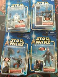 Star Wars Attack Of The Clones Lot Of 4 - Anakin Skywalker, Padme, R2d2 New