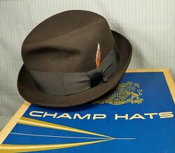 1950s Champs Blue Chip Fedora Hat - Brown Fur Finish Size 7-5/8