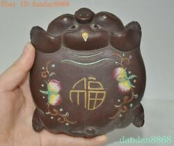 5'' Old Chinese Yixing Zisha Pottery Hand-carved Lucky Animal Pig Statue