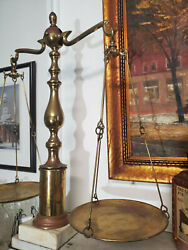 Antique Vintage Large Brass SCALES OF JUSTICE Balance with Marble Stand Base
