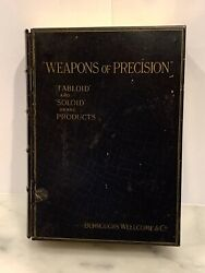 Rare Weapons Of Precision Antique Pharmaceutical Tin Book Box Burroughs Wellcome