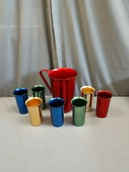 Vintage 1960's Anodized Aluminum Pitcher And 7 Matching Tumblers Mid Century