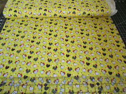 Yellow chicken fabric fabric Traditions fabric by the half yard