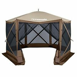 Pamapic 12andrsquo X 12andrsquo Portable Pop-up Gazebo Outdoor Camping Gazebo Tent Brown