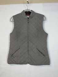 Orvis Vest Quilted Plaid 3m Insulated Lined Vest Grey Medium