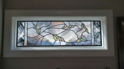 Stained Glass Window Panel Falling Leaves Clear Blue Iridized Large