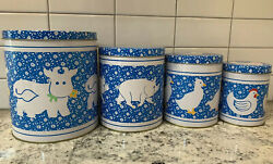 Vintage Inspired 4 Tin Canisters Set Farm Animals Cow Duck Pig And Chicken