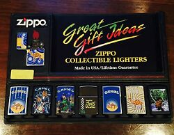 Zippo Lighters Collectable 8 Pieces Smoking Camel Joes Design